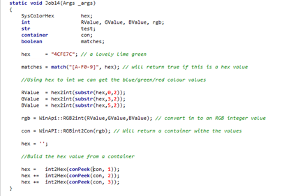 The Infolog » Converting hex colour to RGB